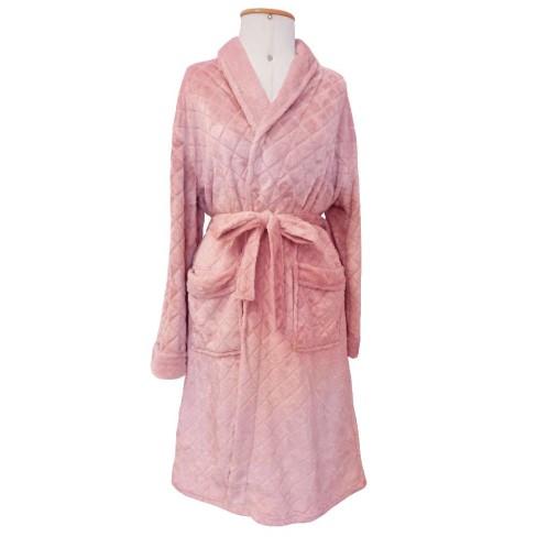 Roupão Adulto Microfibra Flannel Feminino Donna - Toalhas Appel - Rosa frapê