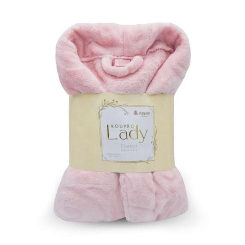 Roupão Adulto Microfibra Flannel Feminino Lady - Toalhas Appel - Rosa pó
