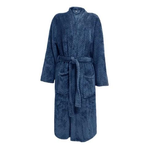 Roupão Adulto Microfibra Flannel Pollo - Toalhas Appel - Azul profundo