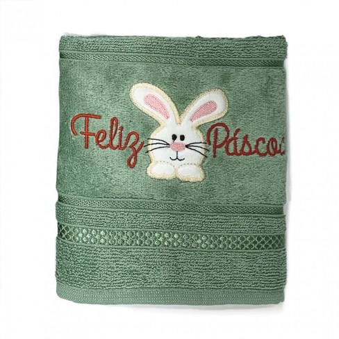 Toalha de Rosto Fiesta Páscoa 50x75 - Toalhas Appel - Verde eucalipto