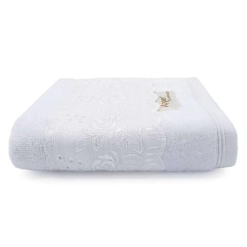 Toalha de Rosto Fio Penteado Splendore Rendada 50x75 - Toalhas Appel - Branco